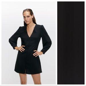 NWT. Zara Black Buttoned Mini Dress. Size S.